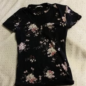 Areopostale Floral Swoop Neck Tee Shirt